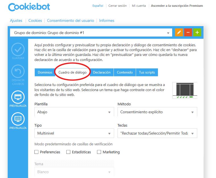 Tutorial configurar plugin Cookiebot